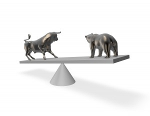 Bear market exchange abstract financial concept with bull and bear.